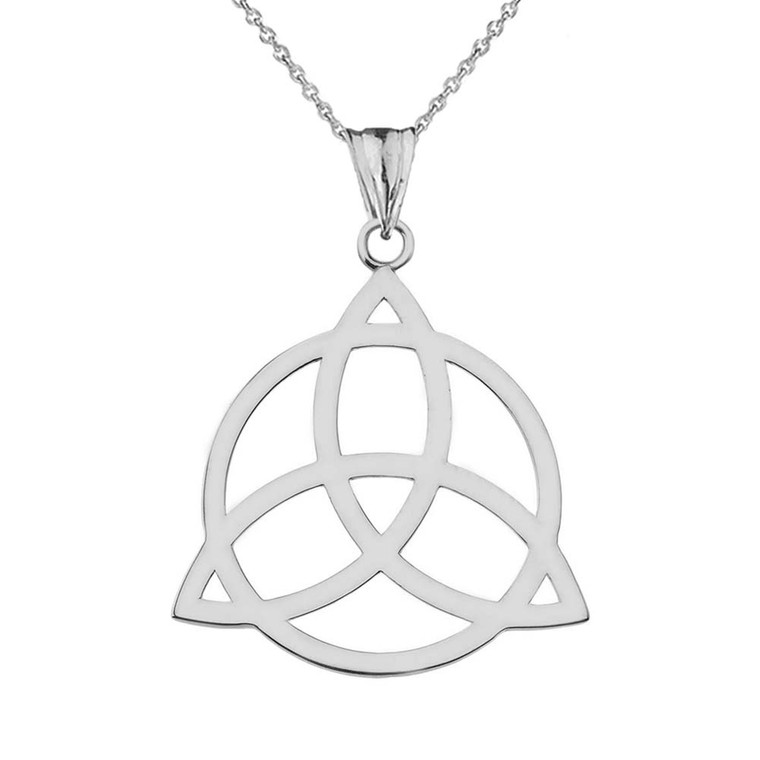 Trinity Knot Circle of Life Silhouette Pendant Necklace In Sterling Silver