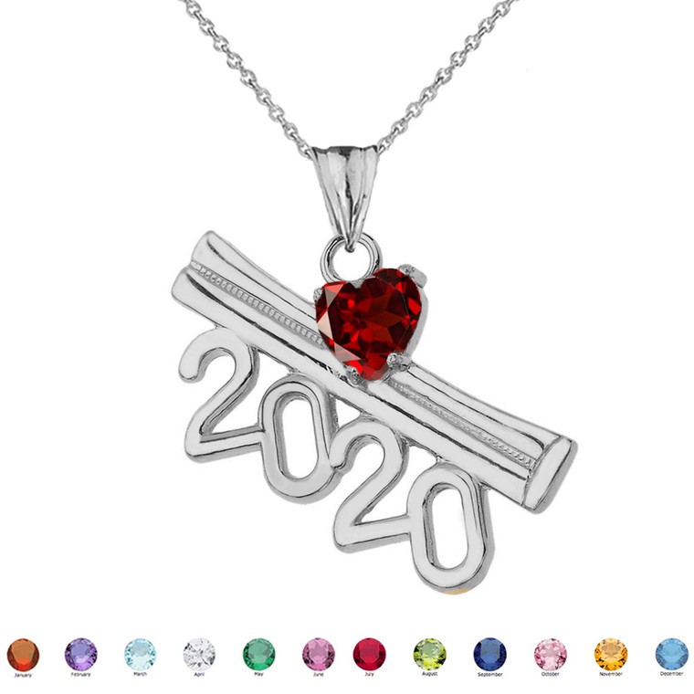 2020 Graduation Diploma Personalized Birthstone CZ Pendant Necklace In White Gold