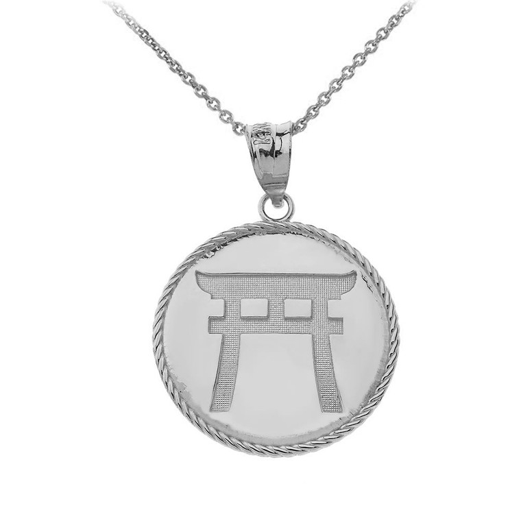 Japanese Torii Shinto Gate Disc Pendant Necklace in Sterling Silver