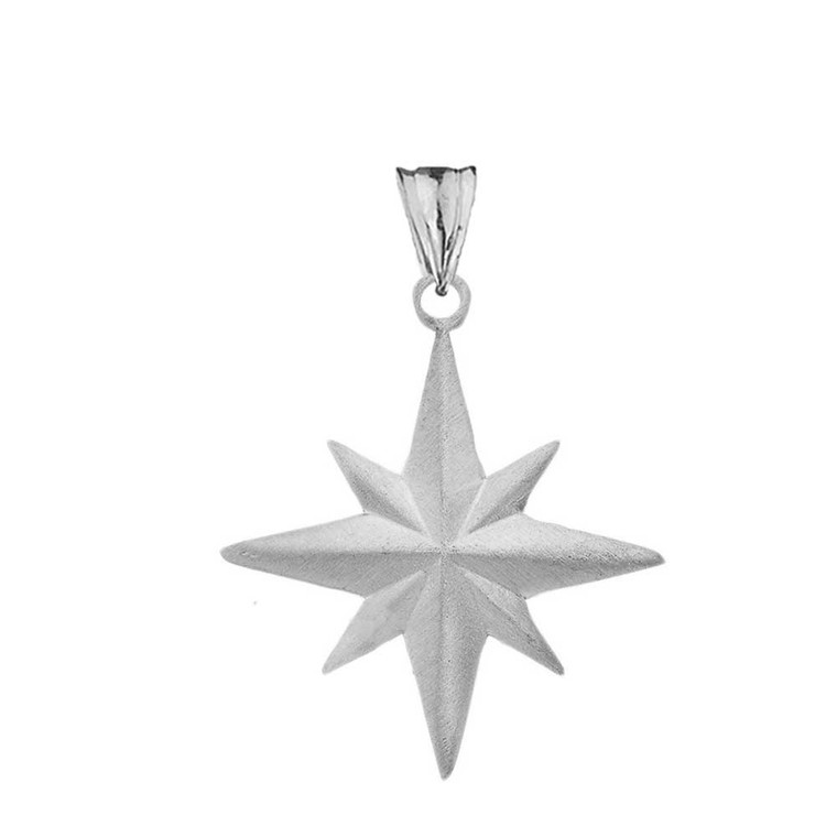 Satin Finish Elegant North Star Pendant Necklace in Sterling Silver