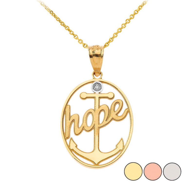 Hope Anchor Diamond Pendant Necklace in Gold (Yellow/ Rose/White)