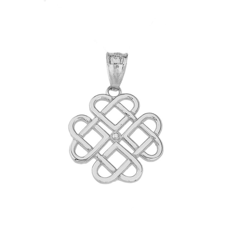 Woven Celtic Hearts Pendant Necklace in Sterling Silver