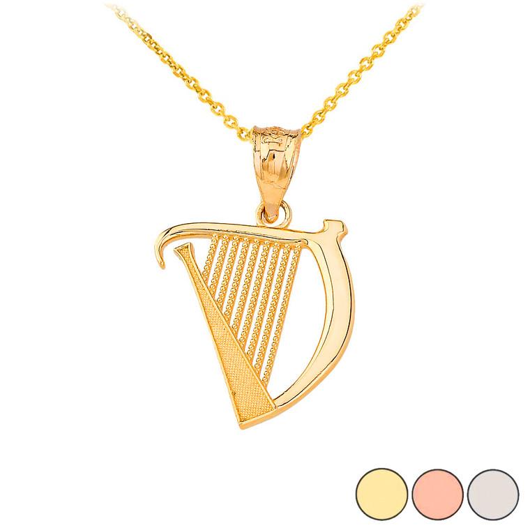 Textured Irish Harp Pendant Necklace in Gold (Yellow/ Rose/White)
