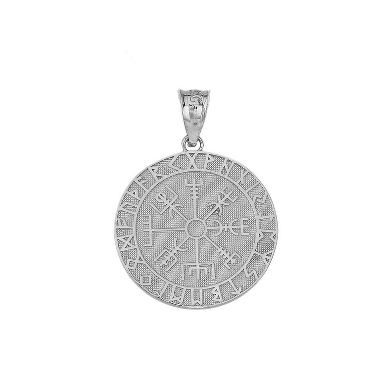 Vegvisir Viking Compass Pendant Necklace in Sterling Silver