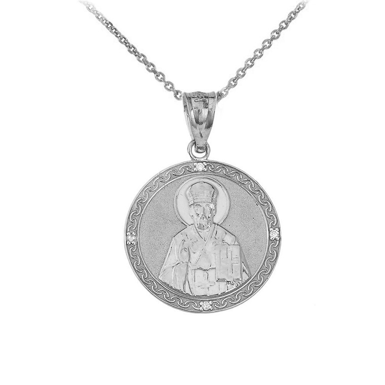 Saint Nicholas Pray for Us Circle Medallion CZ Pendant Necklace in Sterling Silver
