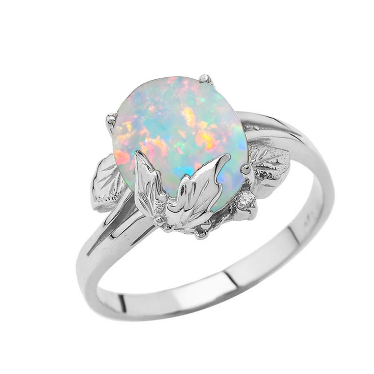 Simulated Opal Gemstone Oval Floral Ladies Ring In Sterling Silver