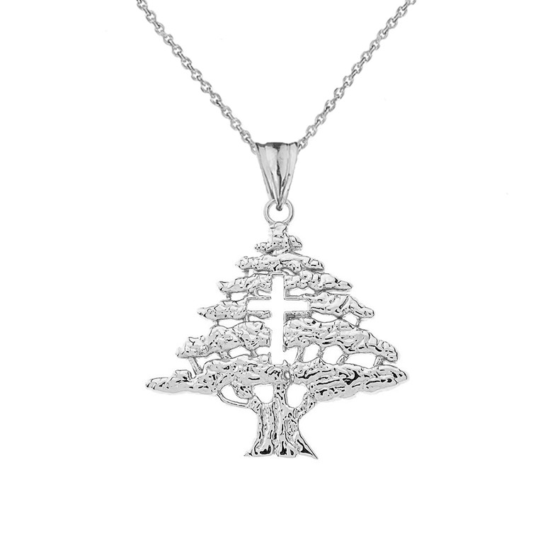 Lebanese Cedar Tree With Cut out Cross Pendant Necklace In Sterling Silver