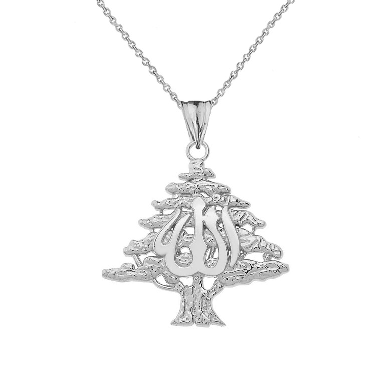 Lebanese Cedar Tree With (ALLAH)Pendant Necklace In Sterling Silver