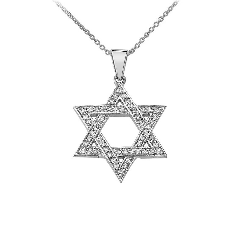 Star of David Cubic Zirconia Pendant Necklace in Sterling Silver