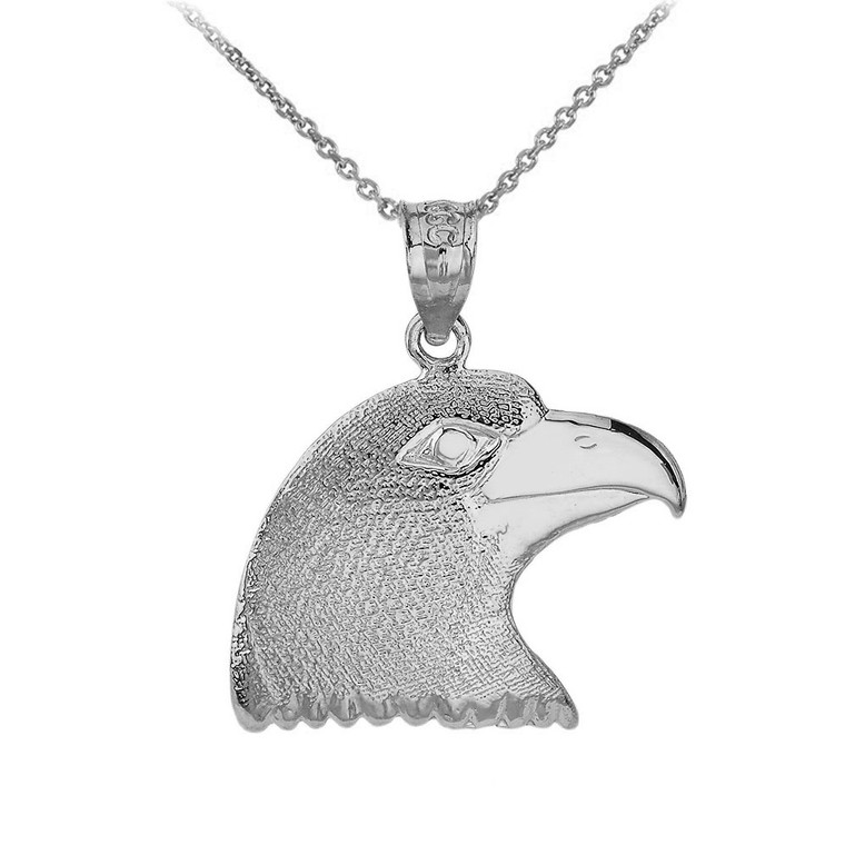 Eagle Head Pendant Necklace in Sterling Silver