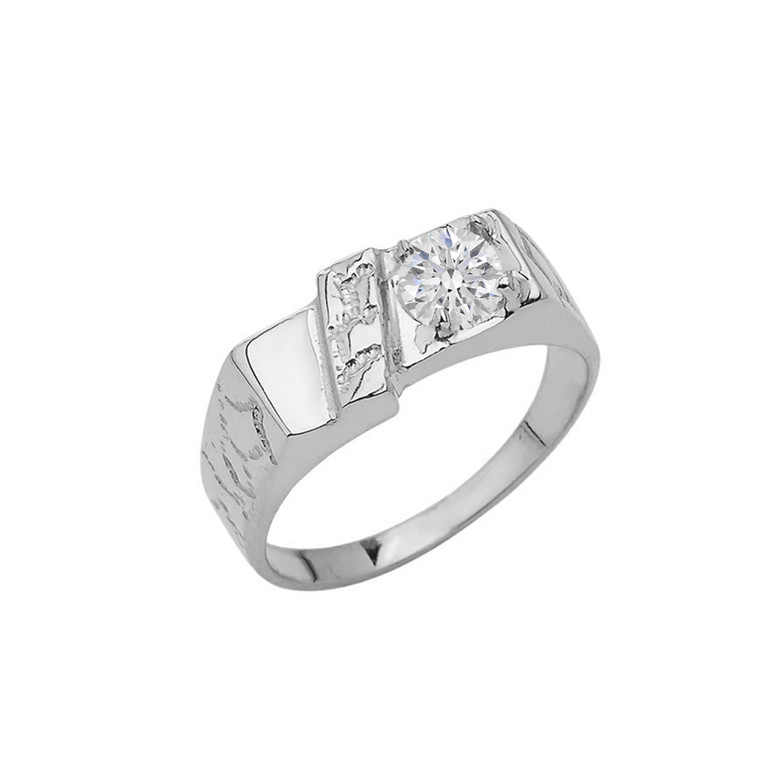 Pinky Nugget With CZ Solitaire Ring In Sterling Silver