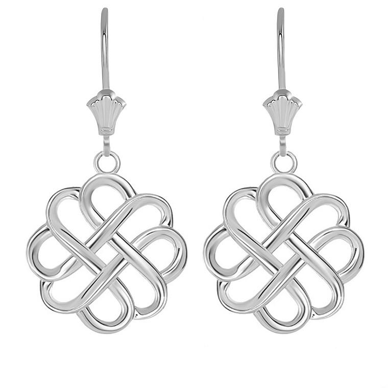 Intricate Celtic Knot Leverback Earrings in Sterling Silver