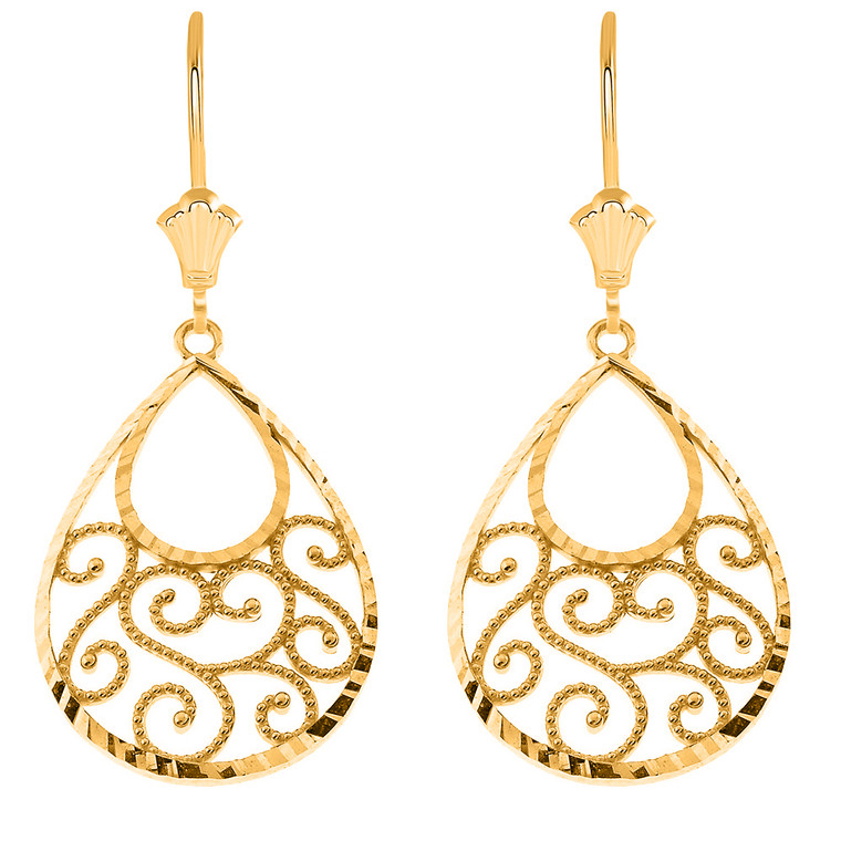 Filigree Teardrop Spiral Leverback Earrings in Solid Yellow Gold