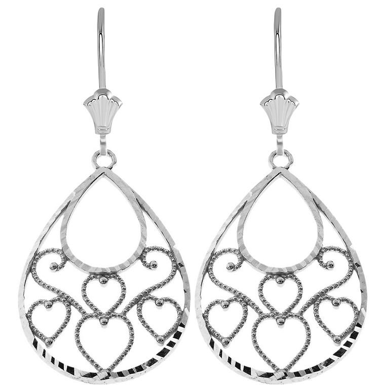 Filigree Diamond Cut Teardrop Hearts Leverback Earrings in Sterling Silver