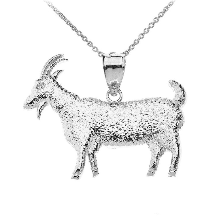 Goat Textured Charm Pendant Necklace in Sterling Silver