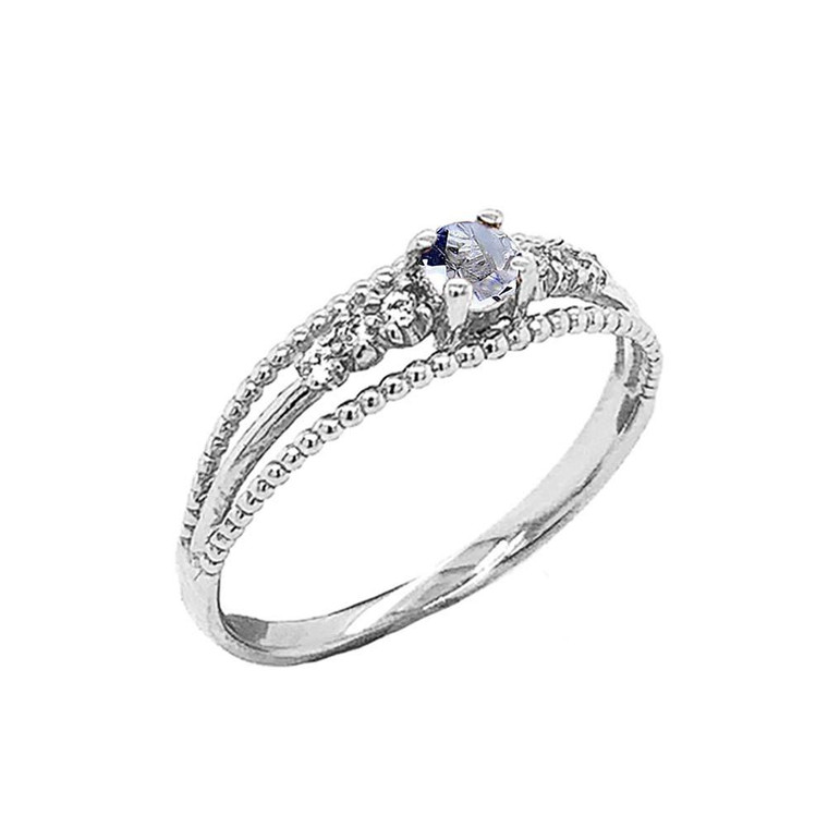 Genuine Aquamarine and Diamond Modern Engagement/Promise Ring in Sterling Silver