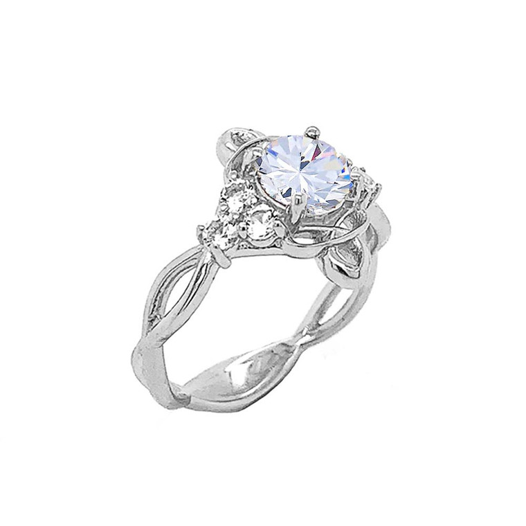 Genuine White Topaz Engagement/Wedding Ring with Infinity Band in Sterling Silver