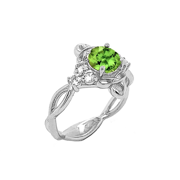 Genuine Peridot and White Topaz Engagement/Wedding Ring with Infinity Band in Sterling Silver
