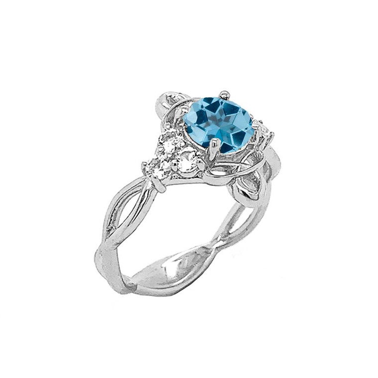 Genuine Blue Topaz and White Topaz Engagement/Wedding Ring with Infinity Band in Sterling Silver