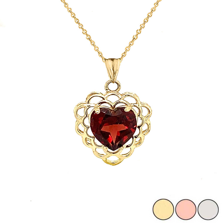 Genuine Garnet Filigree Heart-Shaped Pendant Necklace in Gold (Yellow/Rose/White)