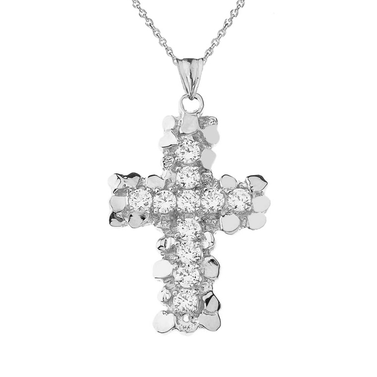 Nugget Cross CZ Pendant Necklace in Sterling Silver