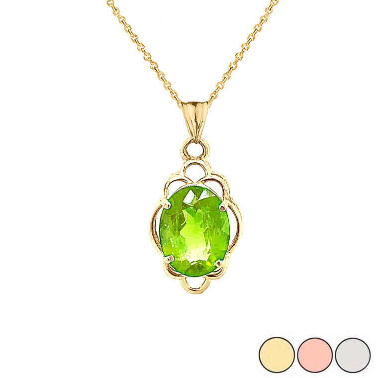 Genuine Peridot Oval-Shaped Clover Pendant Necklace in Gold (Yellow/Rose/White)