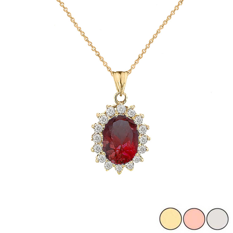 Genuine Garnet Fancy Pendant Necklace in Gold (Yellow/Rose/White)