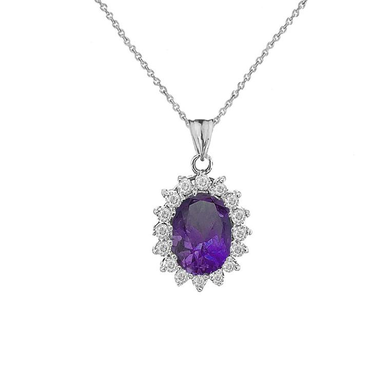 Genuine Amethyst Fancy Pendant Necklace in Sterling Silver