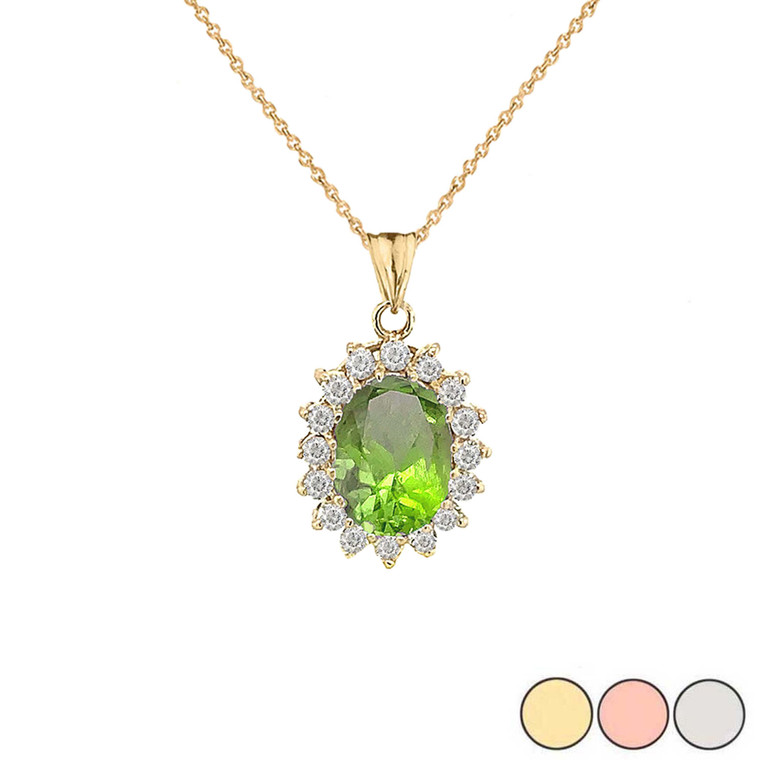 Genuine Peridot Fancy Pendant Necklace in Gold (Yellow/Rose/White)