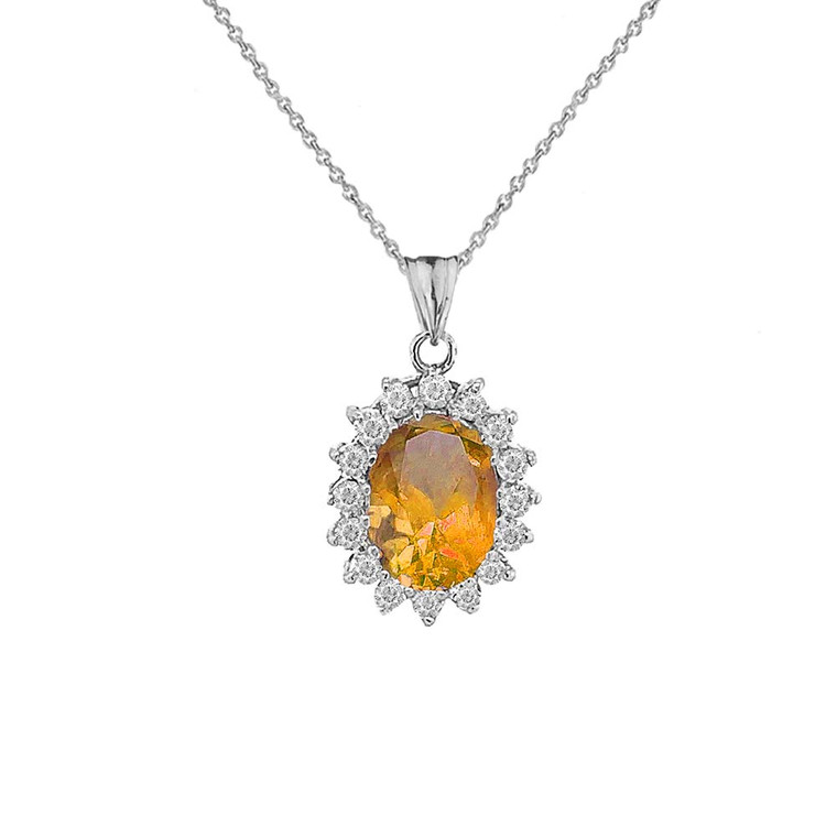 Genuine Citrine Fancy Pendant Necklace in Sterling Silver