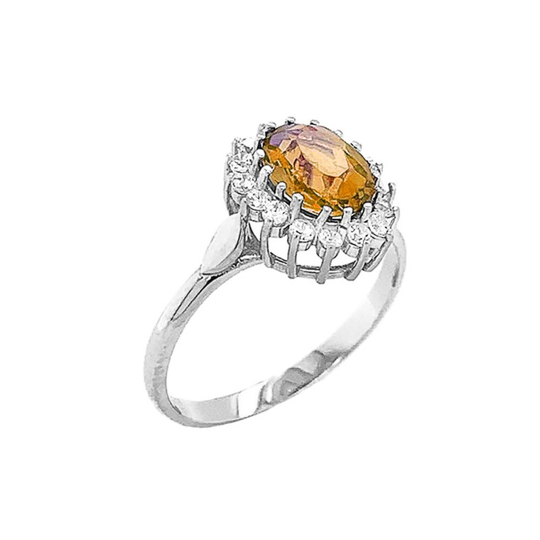Genuine Citrine Fancy Engagement/Wedding Solitaire Ring in Sterling Silver