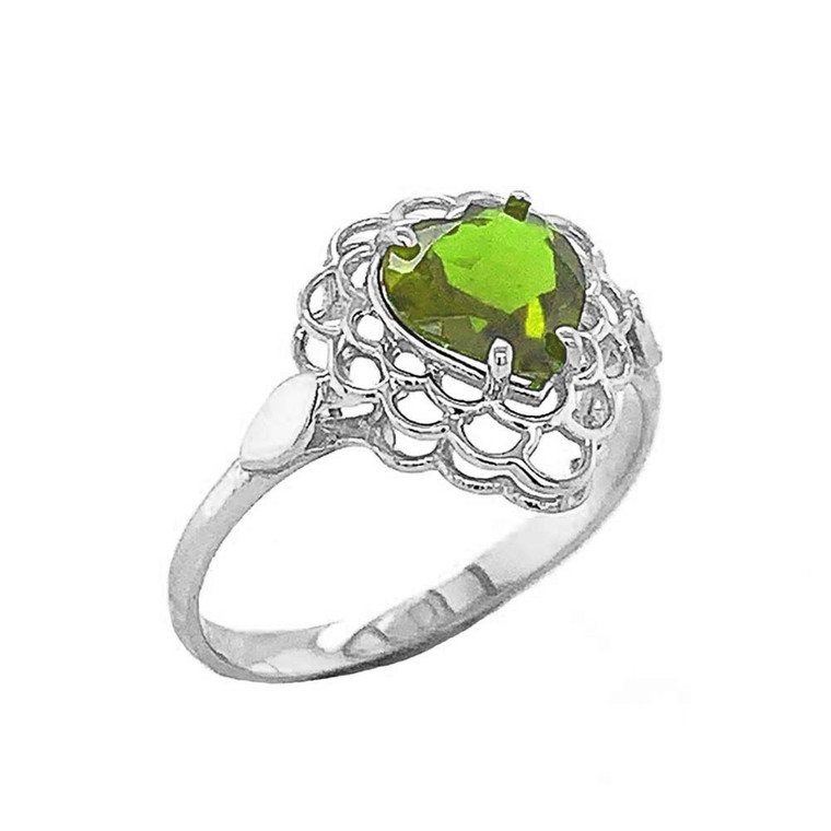 Peridot Filigree Heart-Shaped Ring in Sterling Silver