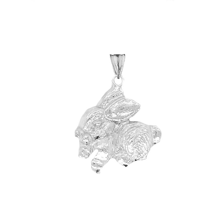Rabbit Pendant Necklace In Sterling Silver