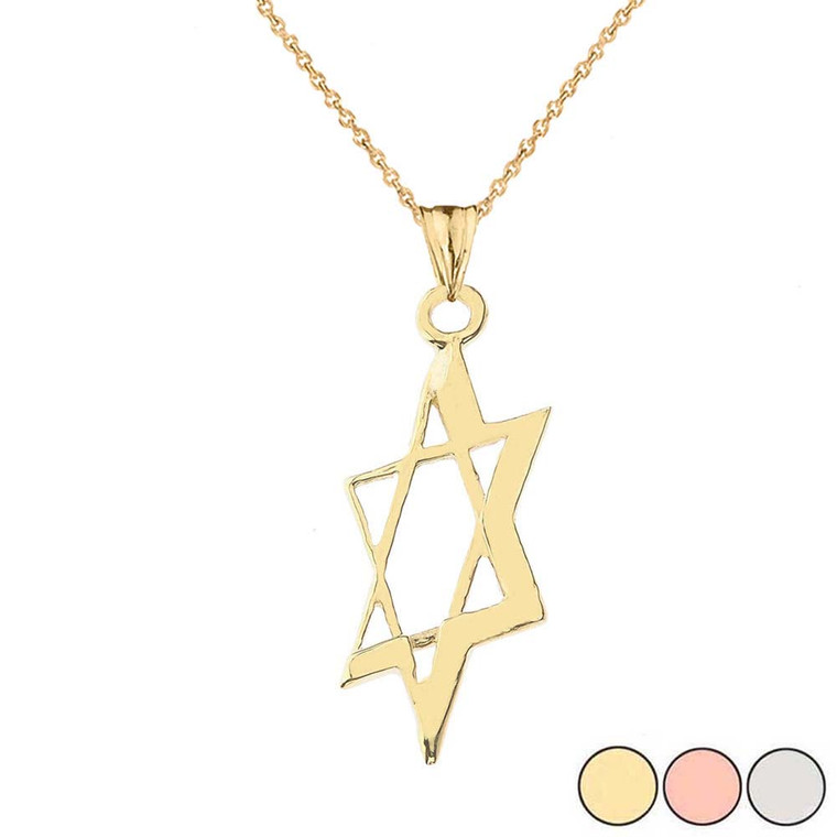 Slanted Star of David Pendant Necklace In Gold (Yellow/Rose/White)