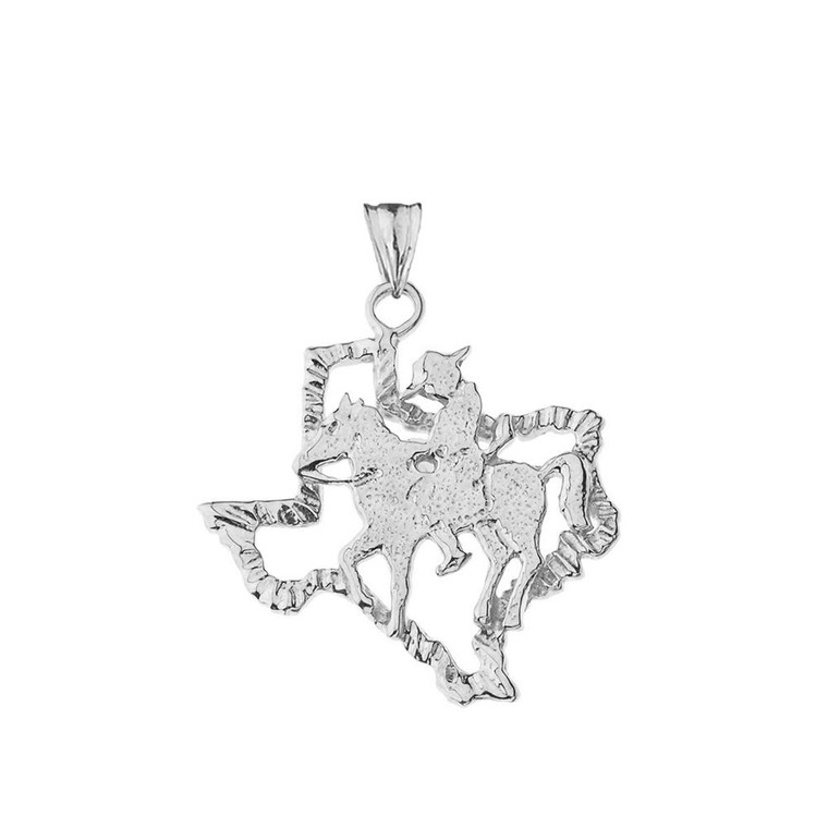 Texas State Cowboy Pendant Necklace In Sterling Silver