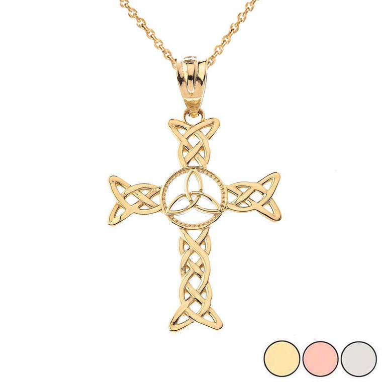 Celtic Trinity Knot-Style Cross Pendant Necklace in Gold (Yellow/Rose/White)