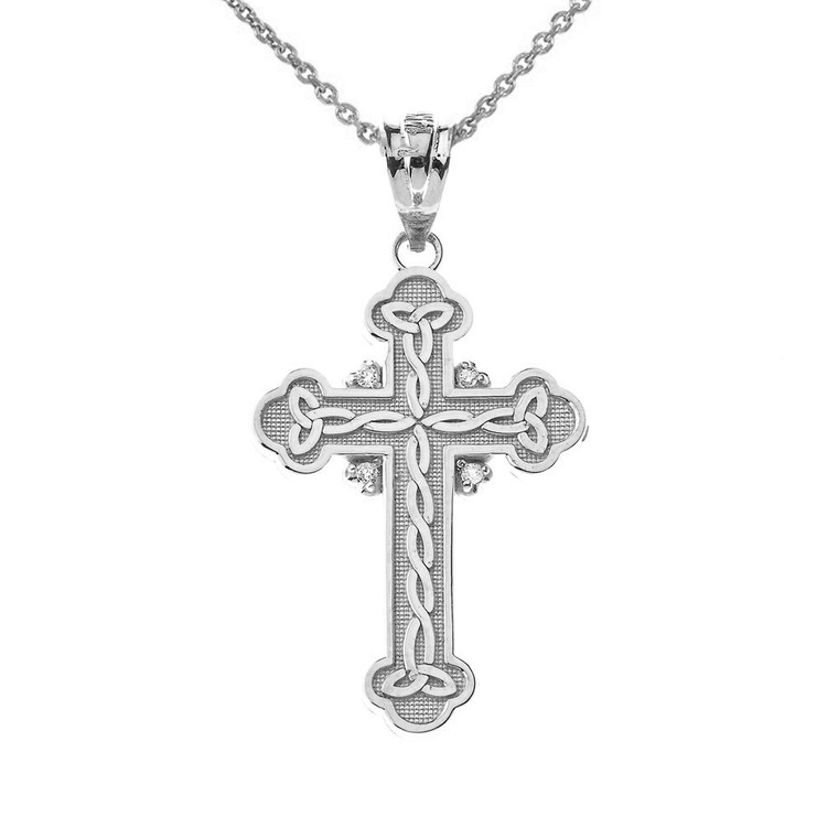 Celtic Trinity Cross CZ Pendant Necklace in Sterling Silver