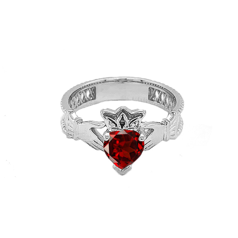 Sterling Silver Lab Created CZ Celtic Design Claddagh Proposal Ring