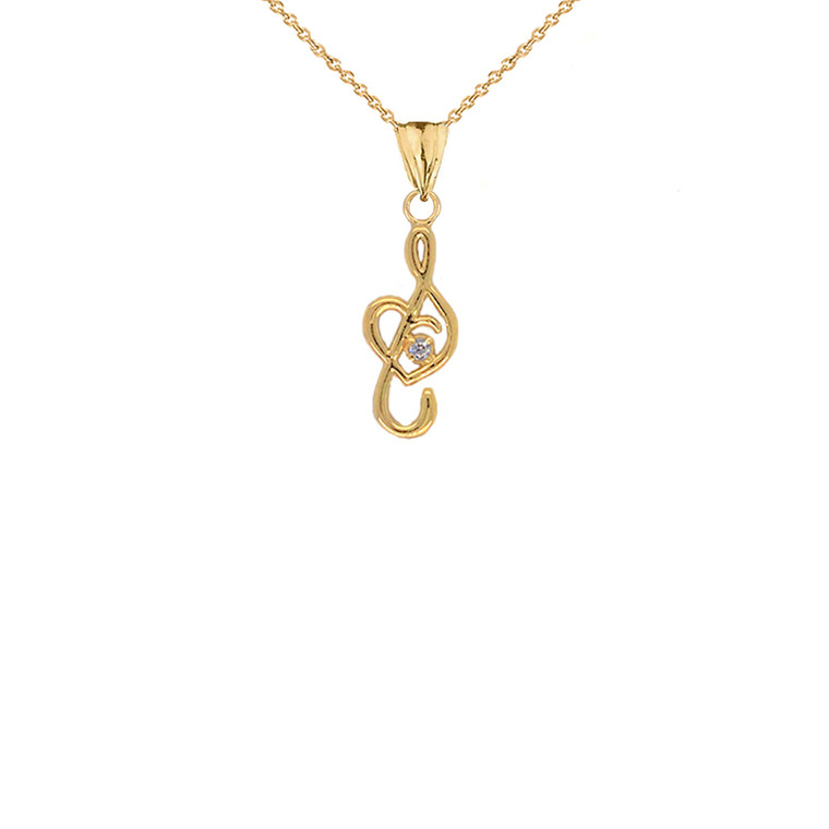 Dainty Diamond Treble Clef Heart Music Note Pendant Necklace in Gold (Yellow/Rose/White)