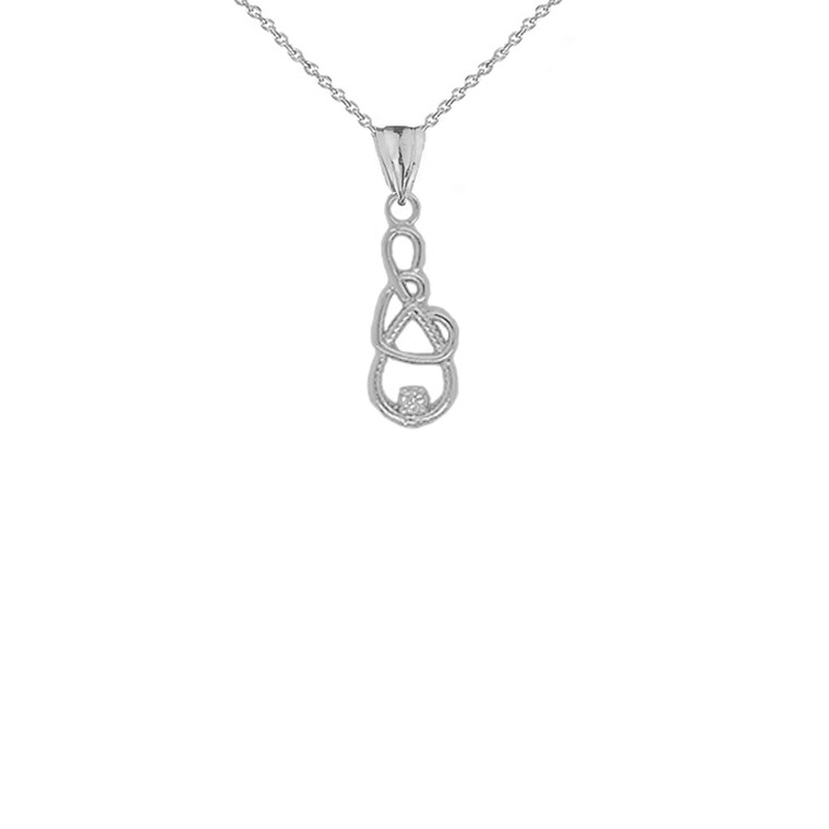 Dainty Diamond Infinity Interlaced Heart Pendant Necklace in Sterling Silver