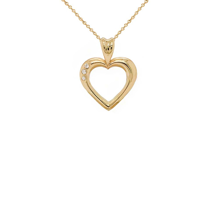 3-Stone Diamond Open Heart Pendant Necklace in Gold (Yellow/Rose/White)