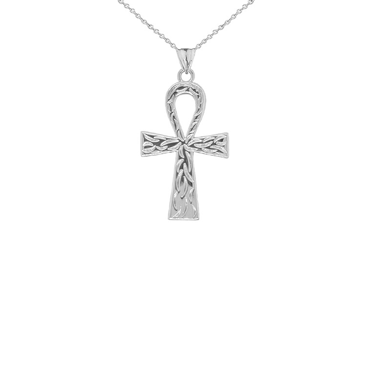 Ankh Cross Charm Pendant Necklace in Sterling Silver (Small)