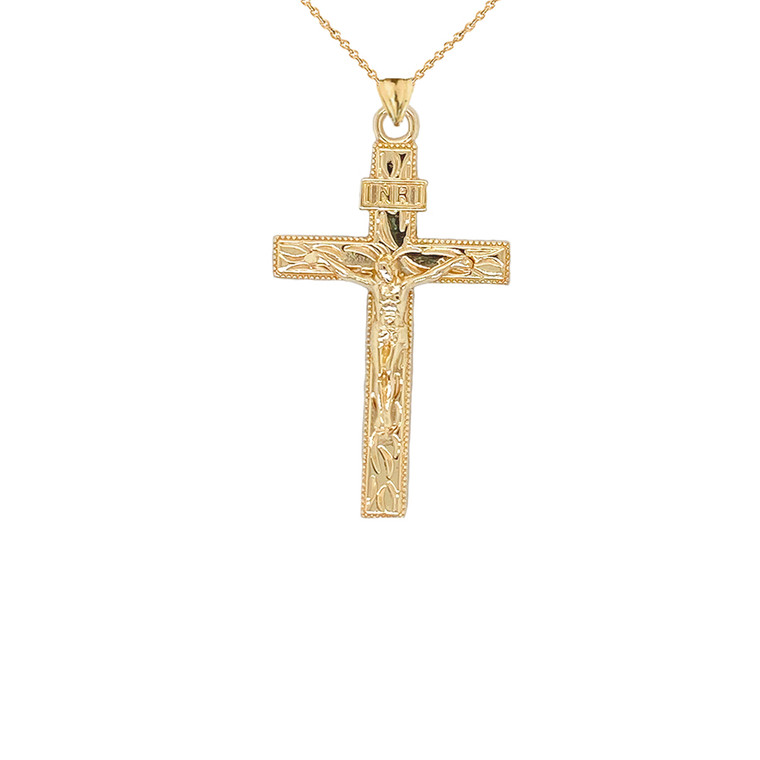 Jesus Christ INRI Crucifix Cross Pendant Necklace in Gold (Yellow/Rose/White) (Small)