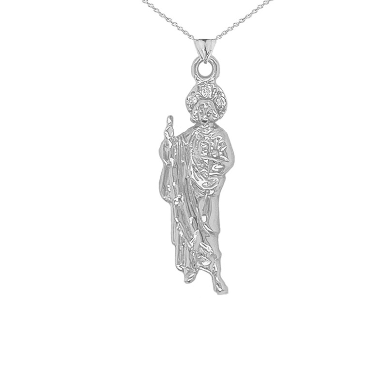 Saint Jude Pendant Necklace in Sterling Silver