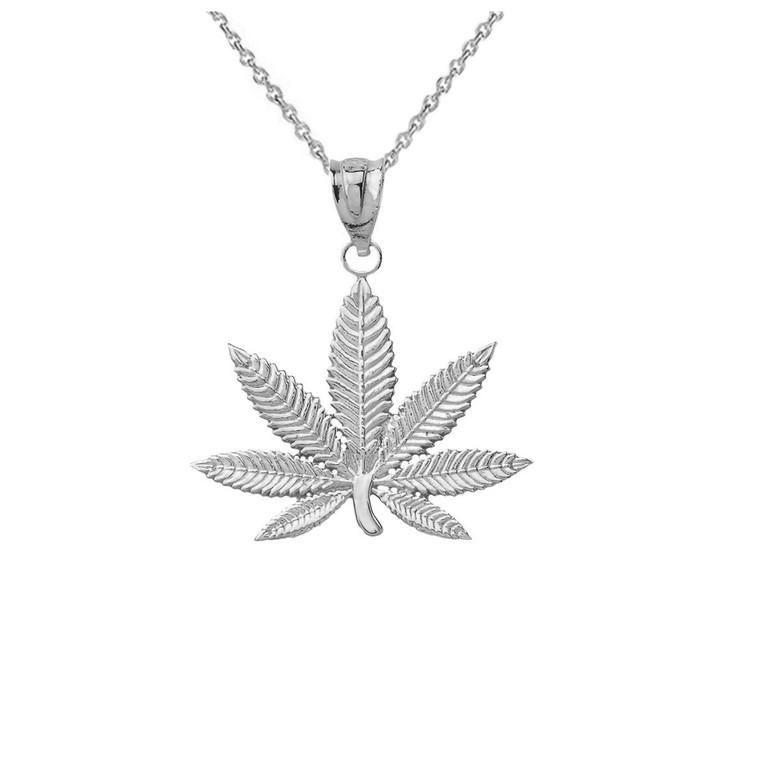 Marijuana Leaf Cannabis Pendant in Sterling Silver