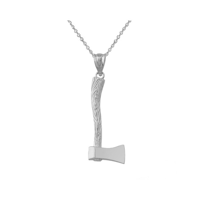 Axe Charm Pendant Necklace in Sterling Silver