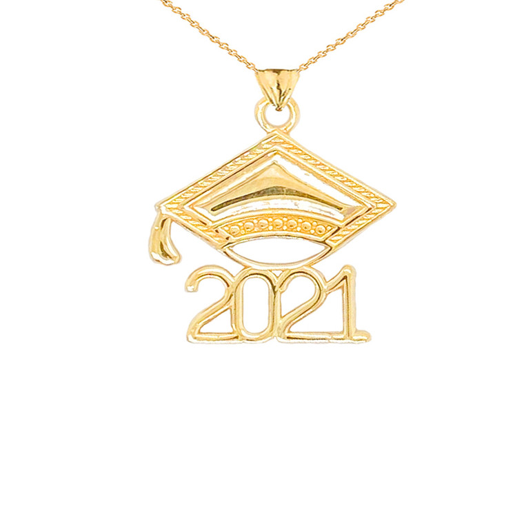 2021 Graduation Cap Pendant Necklace in Gold (Yellow/Rose/White)