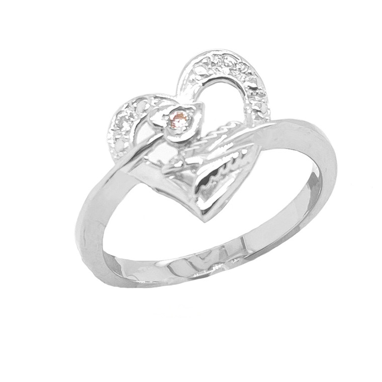 Crossed Heart Ring with Diamond in Sterling Silver