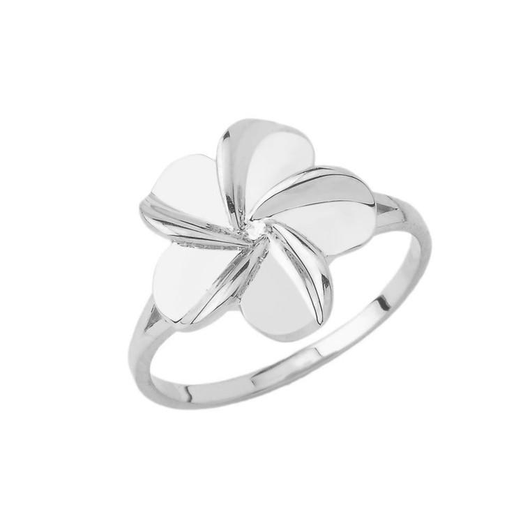Hawaiian Plumeria Ring in Sterling Silver