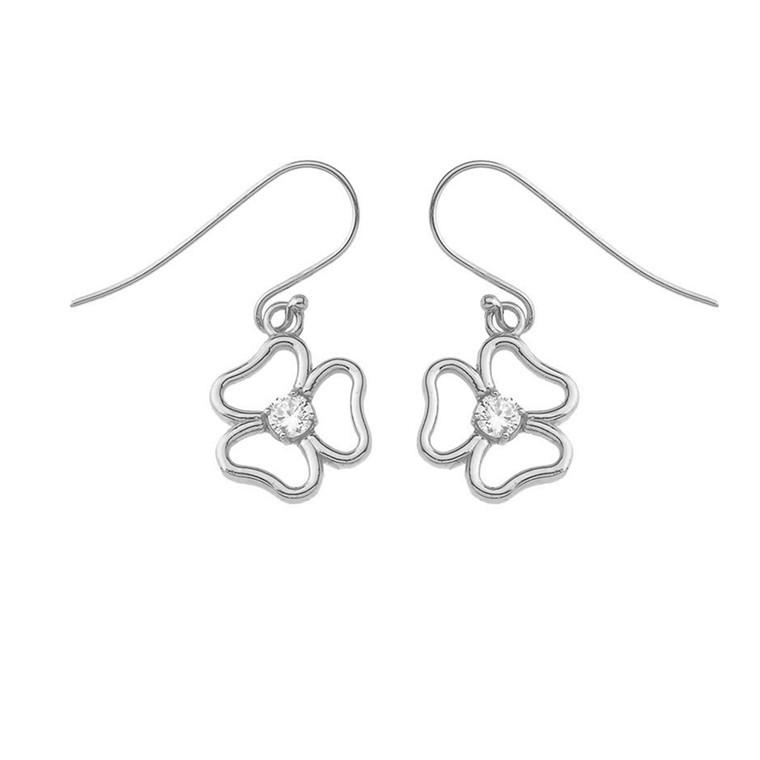 Three Leaf Clover Earrings in Sterling Silver